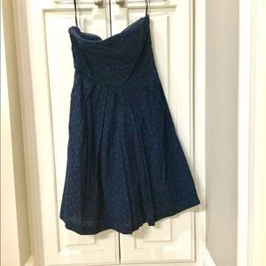 Strapless navy crochet dress